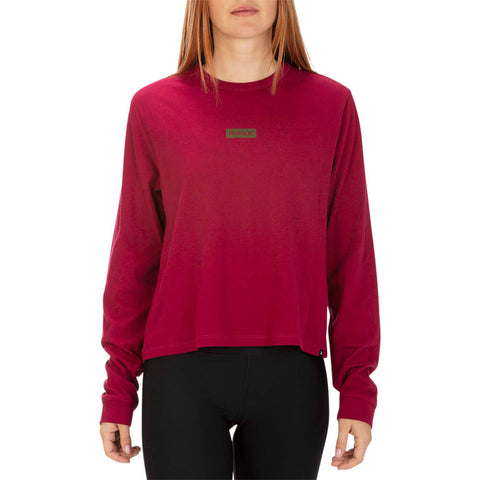 HURLEY WOMEN'S ONE AND ONLY BOX PERFECT LONG SLEEVE TOP NOBLE RED MODEL