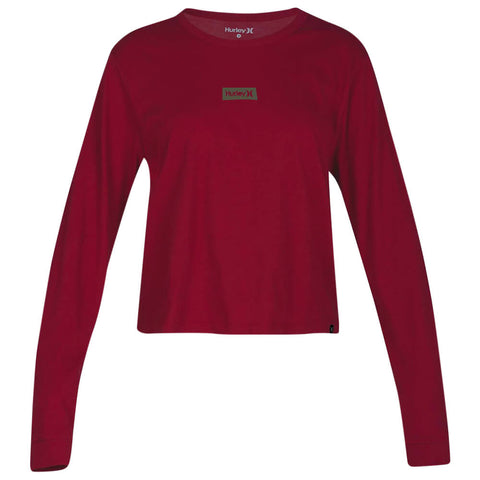 HURLEY WOMEN'S ONE AND ONLY BOX PERFECT LONG SLEEVE TOP NOBLE RED