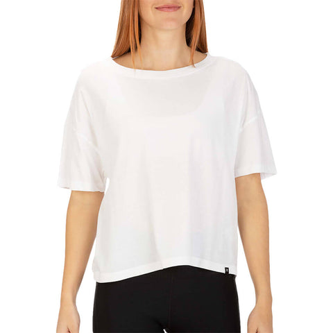 HURLEY WOMEN'S FLOUNCY TEE SHORT SLEEVE TOP WHITE MODEL
