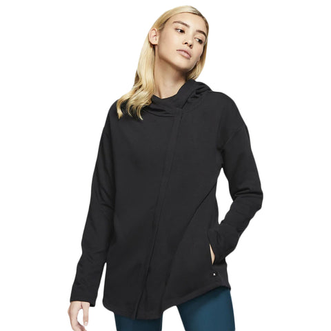 HURLEY WOMEN'S DRI FIT WASH HOODED FLEECE ZIP OIL GREY