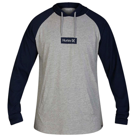 HURLEY MEN'S PREMIUM ONE AND ONLY SMALL BOX LONG SLEEVE TOP HOODIE OBSIDIAN/DARK GREY HEATHER