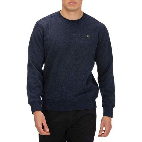 HURLEY MEN'S THERMA PROTECT FLEECE CREW OBSIDIAN HEATHER MODEL