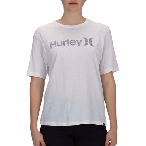 HURLEY WOMEN'S ONE AND ONLY PT OVERSIZED CREW SHORT SLEEVE TOP WHITE/BLK MODEL