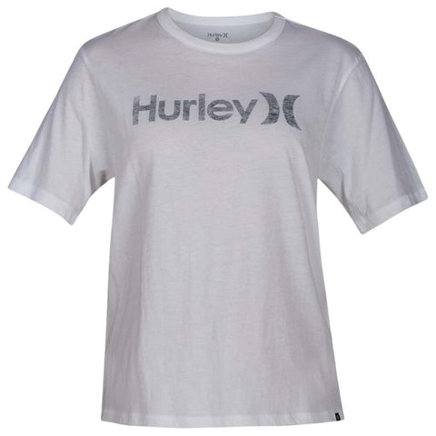 HURLEY WOMEN'S ONE AND ONLY PT OVERSIZED CREW SHORT SLEEVE TOP WHITE/BLK
