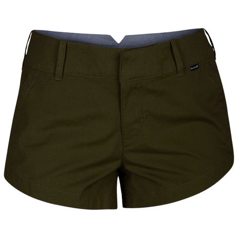 HURLEY WOMEN'S LOWRIDER CHINO SHORT OLIVE CANVAS