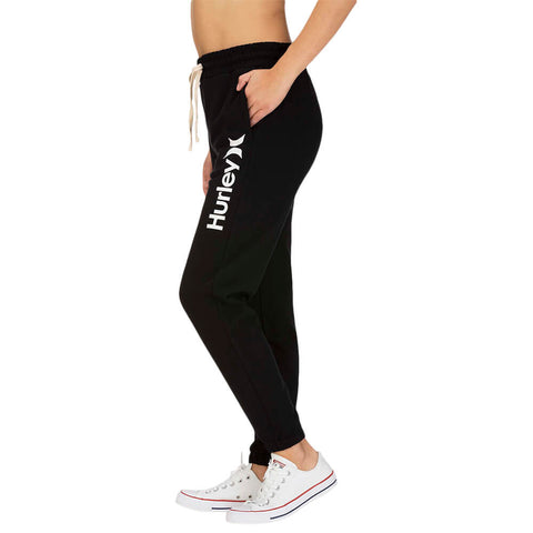 HURLEY WOMEN'S ONE AND ONLY FLEECE JOGGER BLACK/WHITE MODEL SIDE