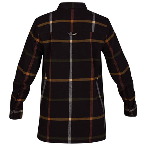 HURLEY WOMEN'S WILSON FLANNEL LONG SLEEVE TOP OIL GREY BACK