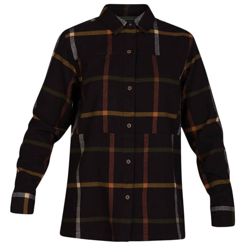 HURLEY WOMEN'S WILSON FLANNEL LONG SLEEVE TOP OIL GREY