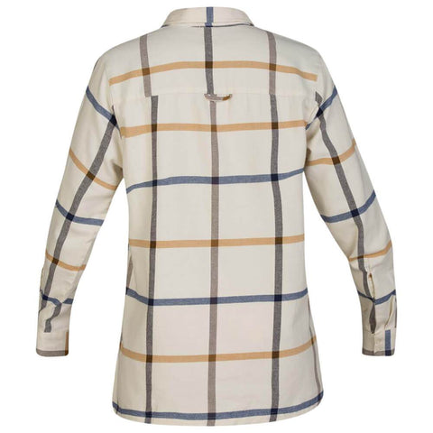HURLEY WOMEN'S WILSON FLANNEL LONG SLEEVE TOP PALE IVORY BACK