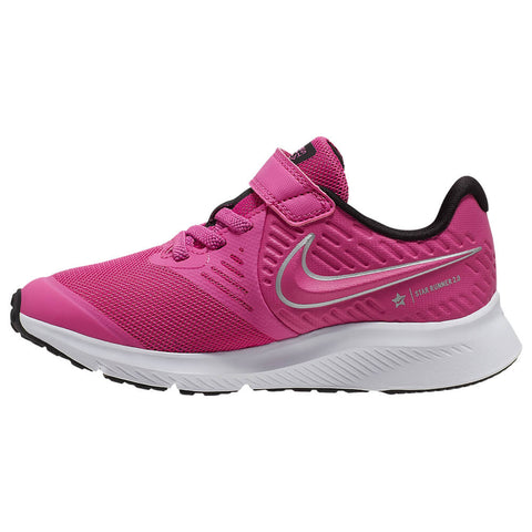 NIKE GIRLS PRE-SCHOOL STAR RUNNER 2 KIDS SHOE FUSCHIA/METALLIC SILVER/BLACK