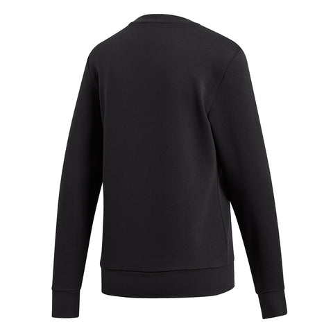 ADIDAS WOMEN'S ESSENTIAL LINEAR SWEAT FLEECE CREW NECK BLACK/WHITE