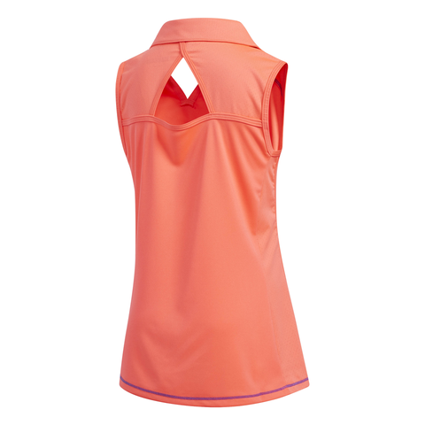 ADIDAS GIRLS SOLID SLEEVELESS POLO RED ZEST