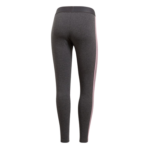 ADIDAS WOMEN'S ESSENTIAL 3 STRIPE TIGHT DARK GREY/ TRUE PINK