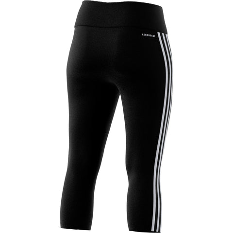 ADIDAS WOMEN'S D2M 3 STRIPE HIGH RISE 3/4 TIGHT BLACK/WHITE