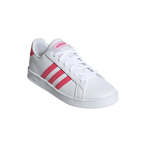 ADIDAS GIRLS GRADE SCHOOL GRAND COURT KIDS SHOE WHITE/PINK/WHITE