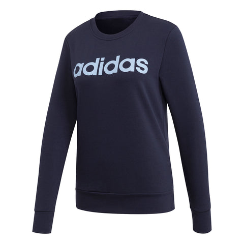 ADIDAS WOMEN'S ESSENTIAL LINEAR SWEAT FLEECE CREW NECK LEGEND INK
