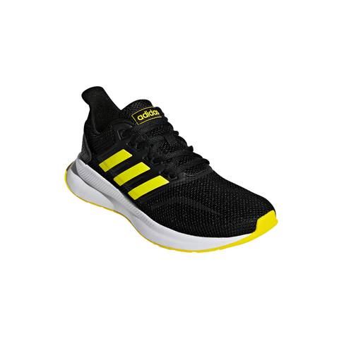 ADIDAS BOYS GRADE SCHOOL/PRE-SCHOOL RUNFALCON KIDS SHOE BLACK/YELLOW/YELLOW