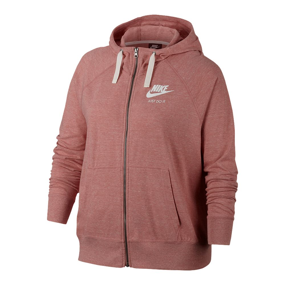 70220df5d11e NIKE WOMENS  GYM VINTAGE FULL ZIP HOODIE EXTENDED SIZING PINK ...