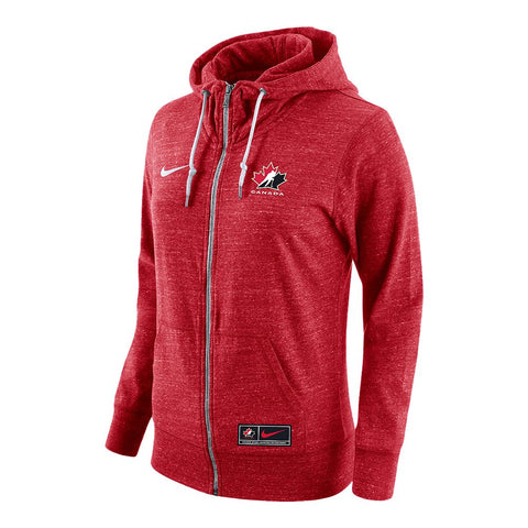 NIKE WOMEN'S TEAM CANADA GYM VINTAGE FULL ZIP HOODY RED