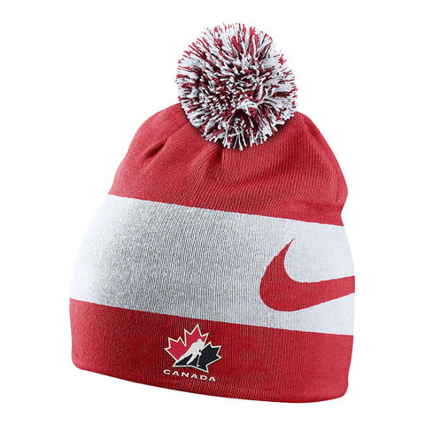 NIKE MEN'S TEAM CANADA SWOOSH STRIPE POM TOQUE RED/WHITE