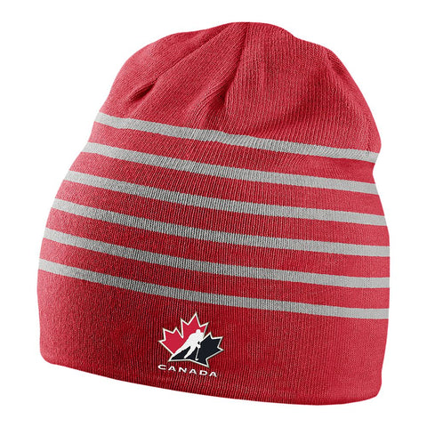 NIKE MEN'S TEAM CANADA MULTI STRIPE BEANIE RED