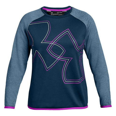 UNDER ARMOUR GIRLS' ARMOUR FLEECE CREW TECHNO TEA/FUCHSIA