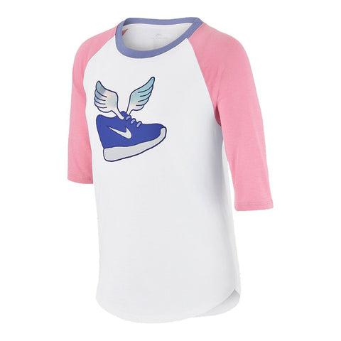 NIKE GIRL'S TEE WINGED SNEAKS SHORT SLEEVE PINK/WHITE