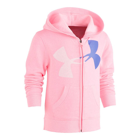 UNDER ARMOUR GIRLS' 4-6X BIG SPLIT LOGO HOODIE POP PINK/MIRROR