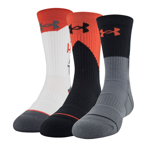 UNDER ARMOUR BOYS PHENOM 4.0 CREW 3PK YOUTH LARGE GRAPHITE/RED ASSORTED