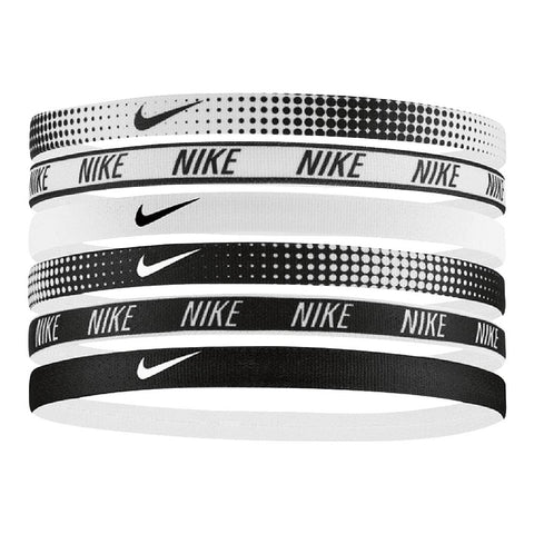 NIKE PRINTED HEADBANDS 6 PK WHT/BLK
