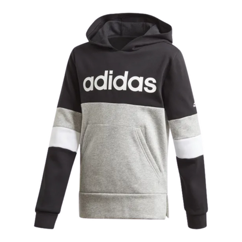 ADIDAS BOY'S LINEAR COLOURBLOCK HOODED FLEECE BLACK/ GREY