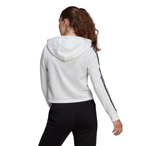 ADIDAS WOMEN'S 3 STRIPE FRENCH TERRY CROP HOODY BLACK/WHITE