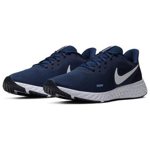 NIKE MEN'S REVOLUTION 5 RUNNING SHOE NAVY/WHITE/DARK OBSIDIAN