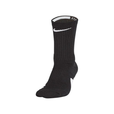 NIKE LARGE ELITE BASKETBALL CREW SOCKS BLACK/WHITE
