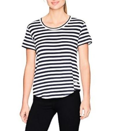 NEW BALANCE WOMEN'S STRIPE SCOOP NECK TOP NAVY