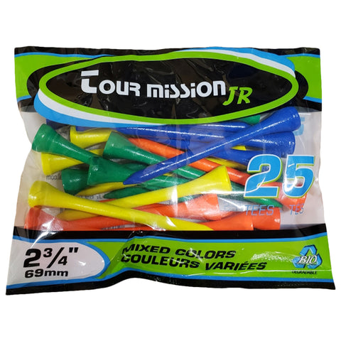 MULLIGAN GOLF TEES 2-3/4'' ASSORTED COLOURS 25 PACK