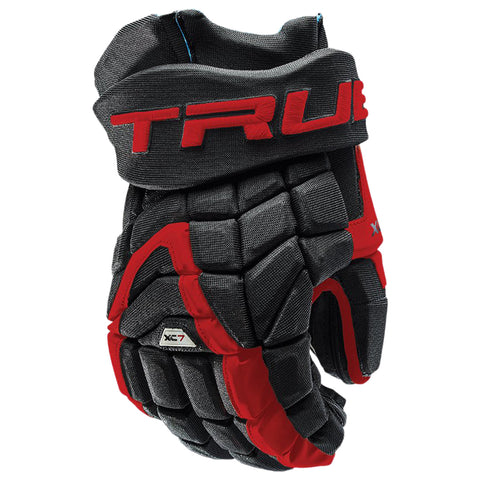 TRUE XC7 PRO Z-PALM SR HOCKEY GLOVES BLACK/RED
