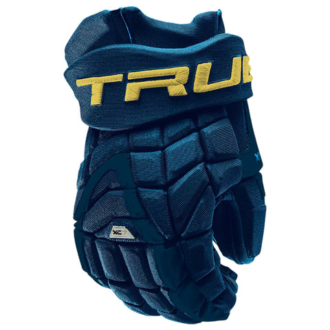 TRUE XC7 PRO Z-PALM JR HOCKEY GLOVES NAVY/GOLD