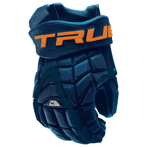 TRUE XC7 PRO Z-PALM JR HOCKEY GLOVES NAVY/ORANGE