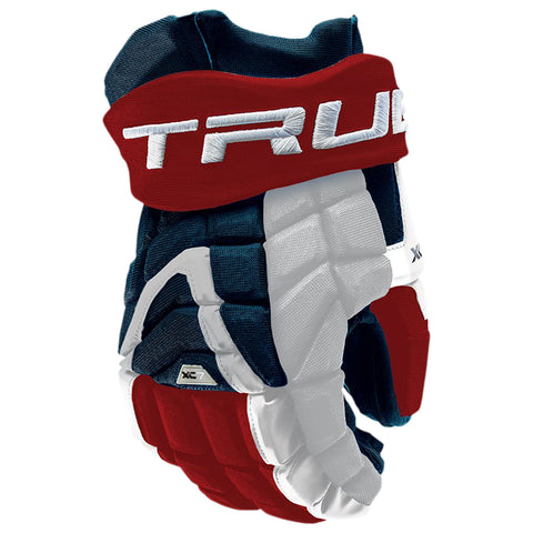 TRUE XC7 PRO Z-PALM SR HOCKEY GLOVES RED/WHITE/BLUE