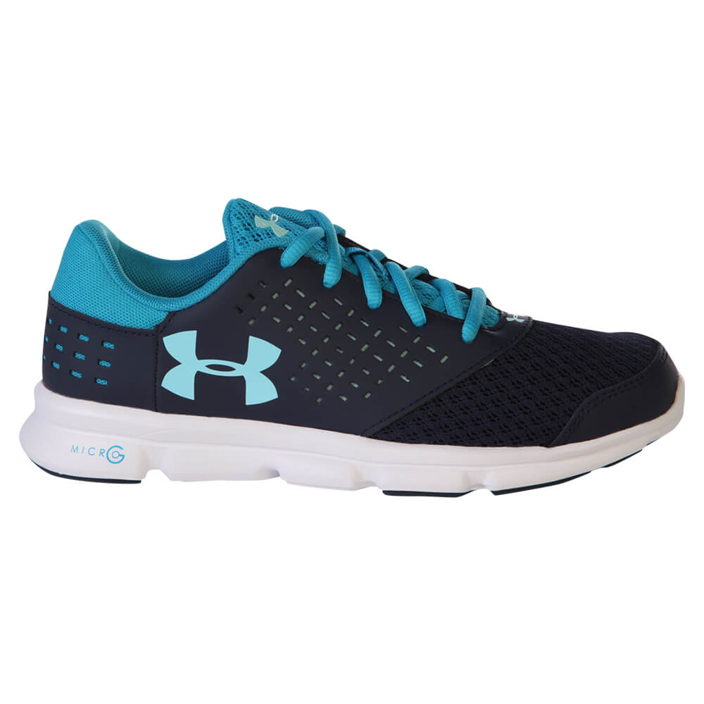 UNDER ARMOUR GIRLS GRADE SCHOOL MICRO G RAVE RN NAVY BLUE ... e75aab477