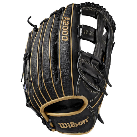 WILSON A2000 1799 SUPERSKIN 12.75 INCH DUAL POST WEB  BLACK/BLONDE/BLACK OUTFIELD BASEBALL GLOVE LEFT HAND THROW