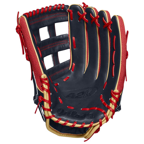 WILSON 2020 A2K SUPERSKIN MB50 GAME MODEL 12.75 INCH DUAL POST WEB OUTFIELD BASEBALL GLOVE LEFT HAND THROW