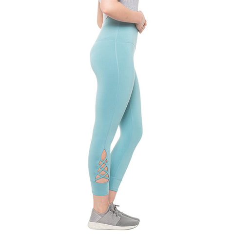 GAIAM WOMEN'S OM HIGH RISE STRAPPY CAPRI REEF WATERS