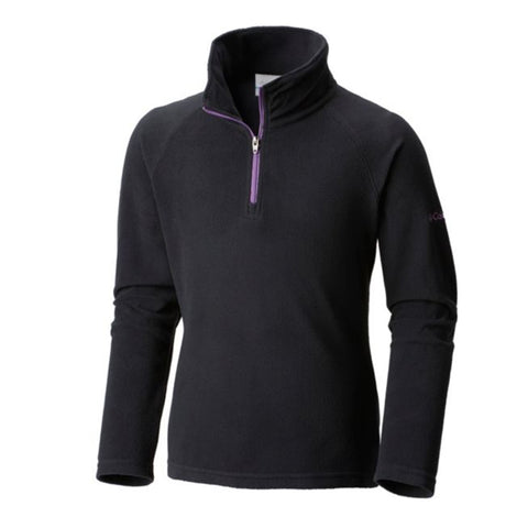 COLUMBIA GIRLS' GLACIAL HALF ZIP FLEECE TOP BLACK/CROWN JEWEL