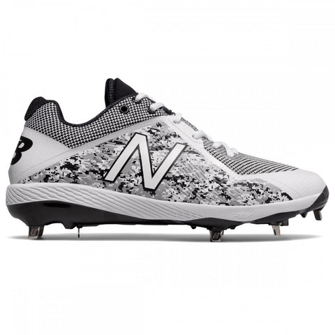 4ee8c69952dd4 NEW BALANCE MEN'S L4040V4 LOW WHITE/CAMOUFLAGE DP METAL BASEBALL CLEAT