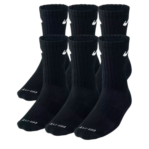 NIKE 6 PACK LARGE COTTON CREW SOCKS BLACK