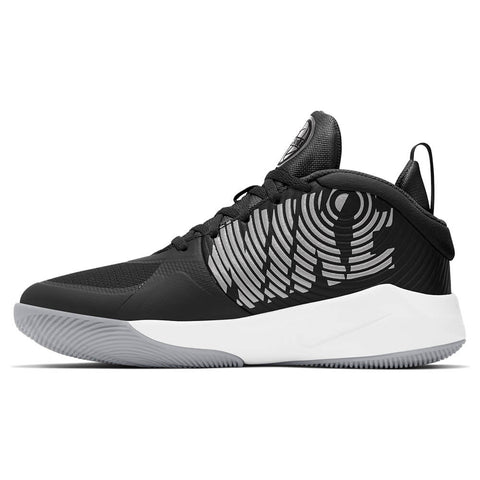 NIKE BOYS GRADE SCHOOL TEAM HUSTLE D9 KIDS SHOE BLACK/SILVER/WOLF GREY/WHITE