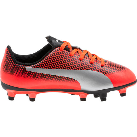 PUMA JUNIOR SPIRIT FG RED BLAST SILVER BLACK SOCCER CLEAT