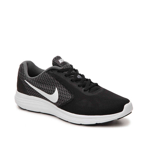 NIKE MEN'S REVOLUTION 3 RUNNING SHOE DARK GREY/WHITE/BLACK